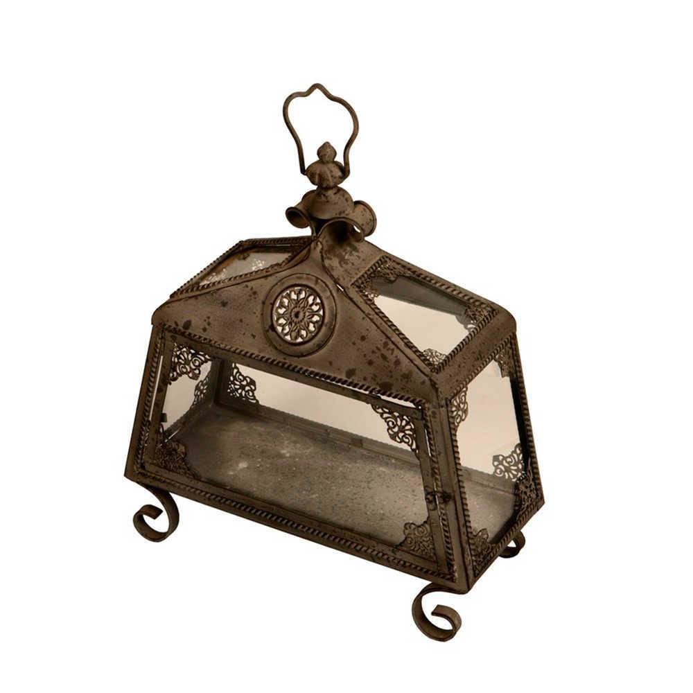 Lanterna Decorativa Roma Trabalhada Marrom em Metal - 45x44 cm