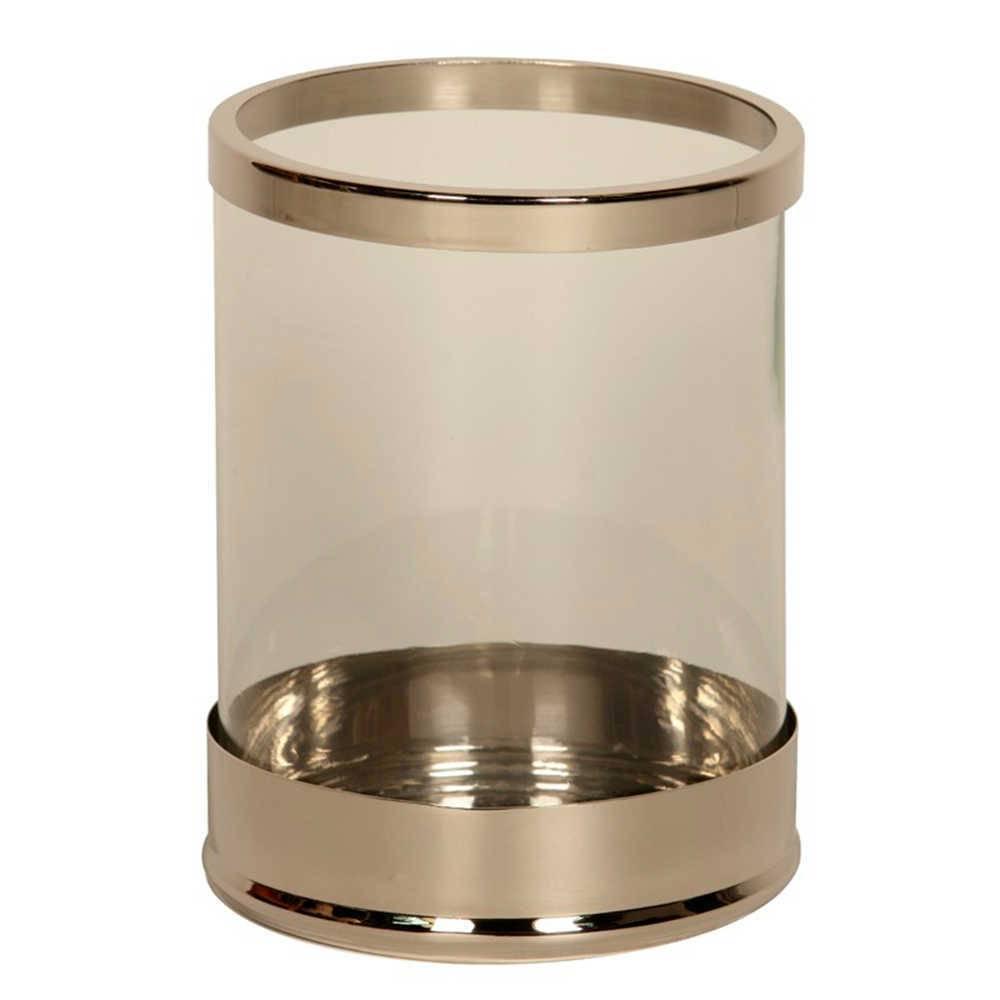 Lanterna Decorativa Round Prata em Aço Inox e Vidro - 26x19 cm