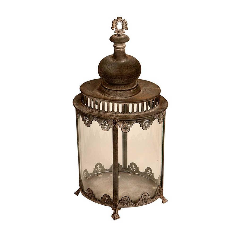 Lanterna Decorativa Trofeo Grande em Metal com Acabamento Envelhecido - 70x32 cm