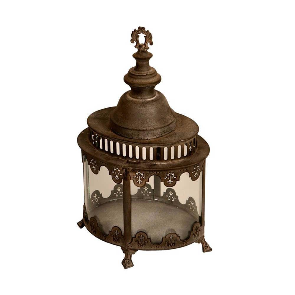 Lanterna Decorativa Trofeo Médio em Metal com Acabamento Envelhecido - 57x32 cm