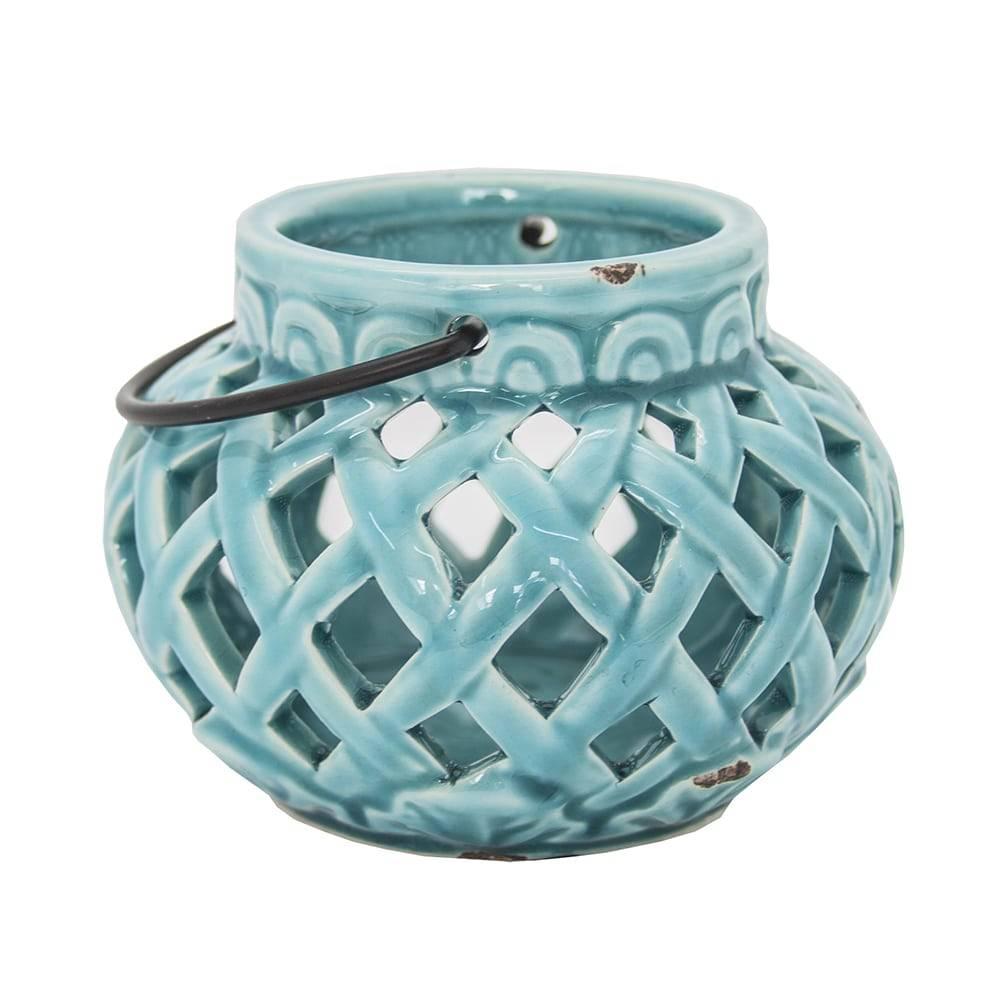 Lanterna Doris Azul Vazada em Cerâmica - 14x11 cm
