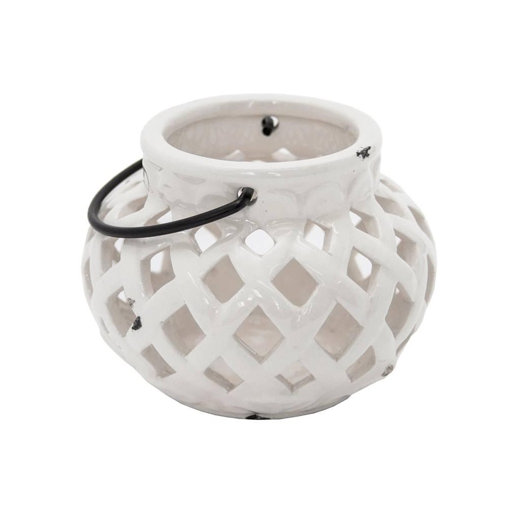 Lanterna Dorys Branco Pequeno em Cerâmica - 14x11 cm