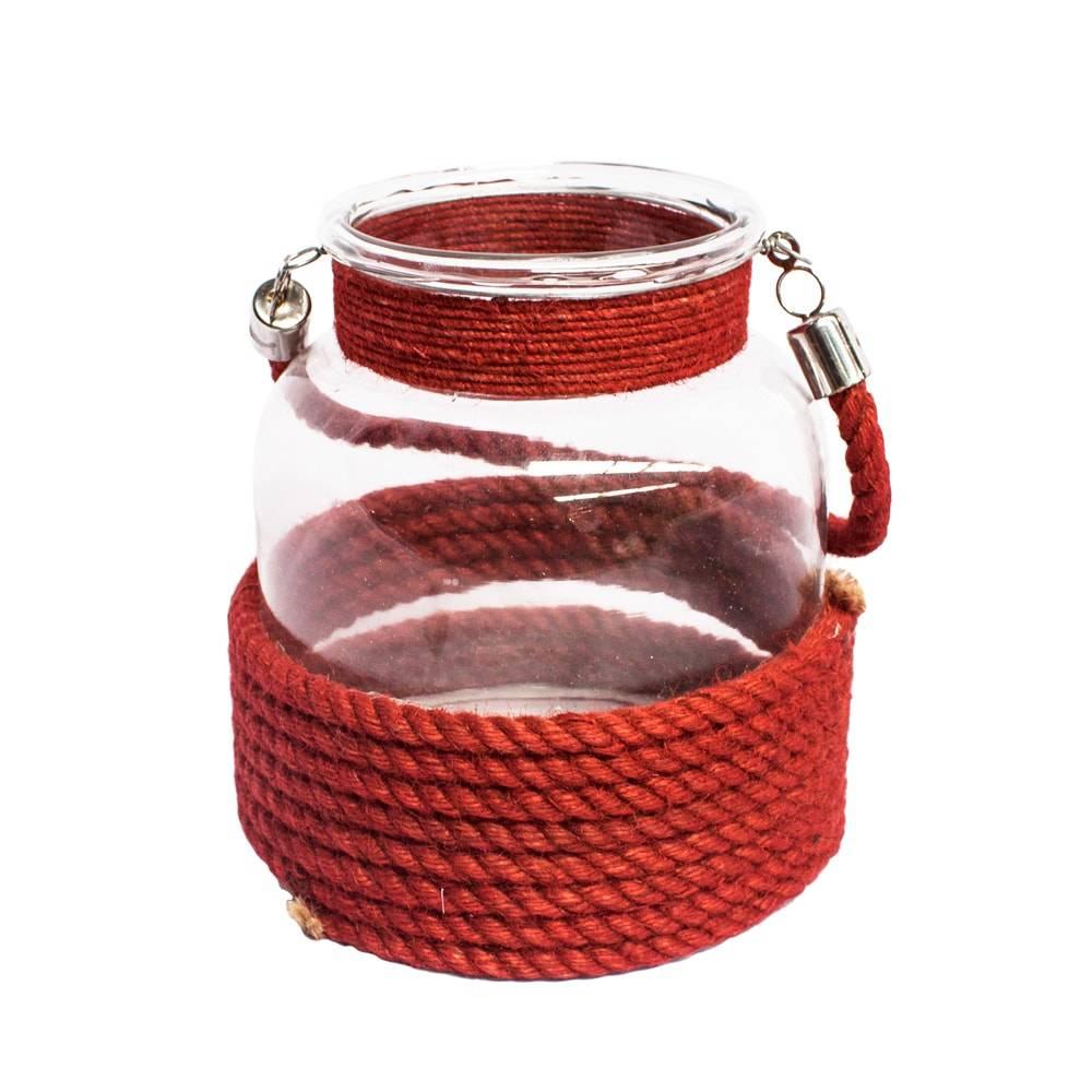 Lanterna Dunas Vermelha em Corda/Vidro - 17x15 cm