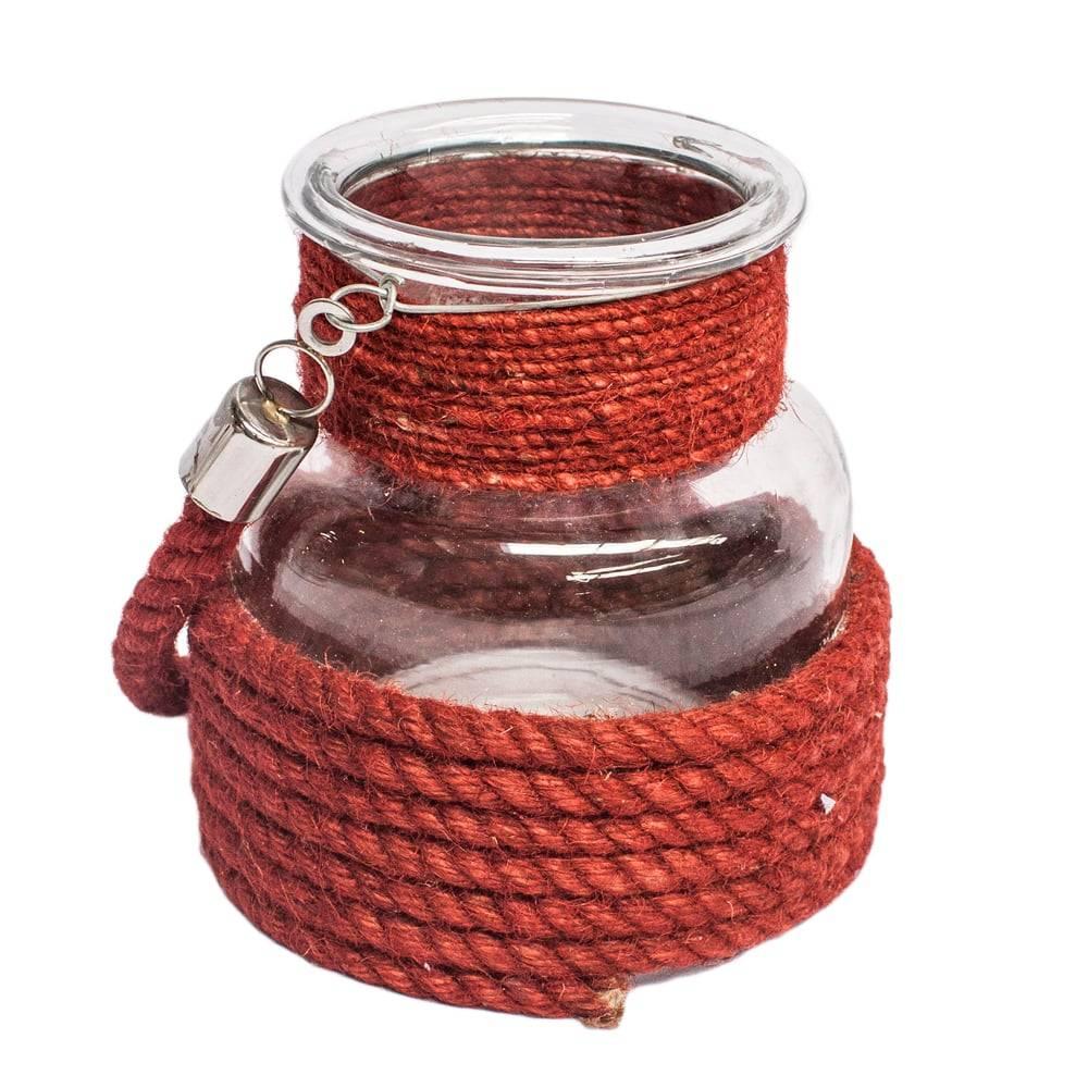 Lanterna Dunas Vermelha Grande em Corda/Vidro - 22x21 cm