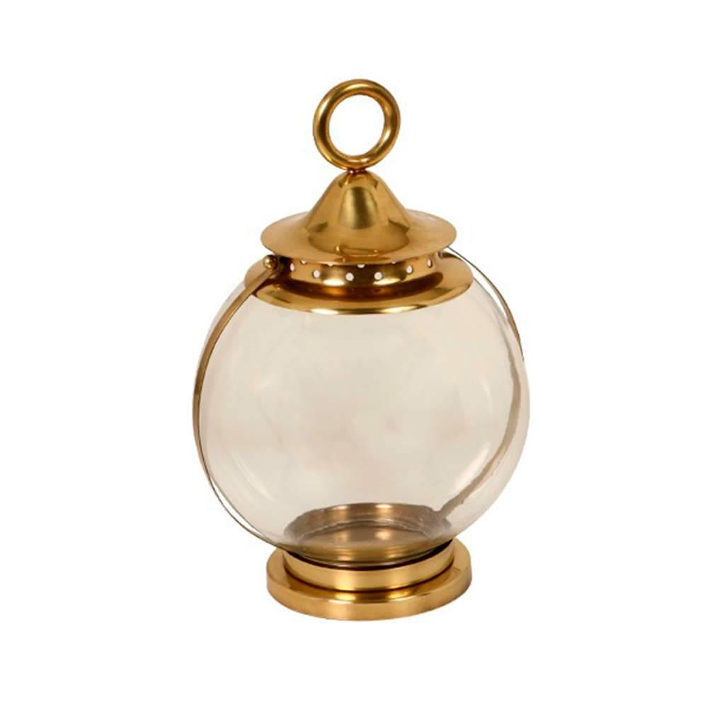 Lanterna Esfera Dourada Média em Metal Banhado a Ouro - 39x25 cm