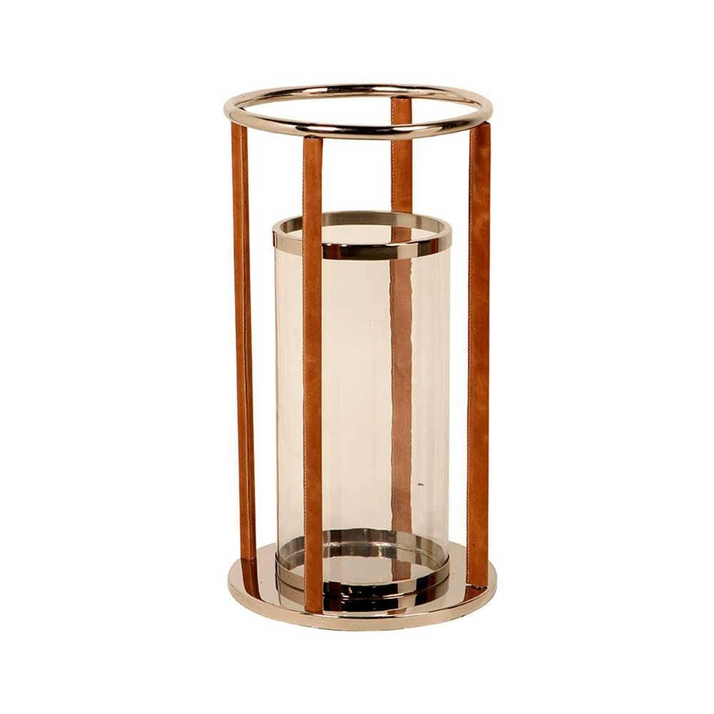 Lanterna Farol de Alexandria Grande em Aço Inox com Detalhes em Couro Natural - 57x32 cm