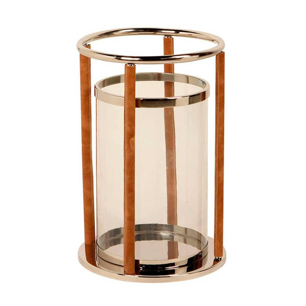 Lanterna Farol de Alexandria Média em Aço Inox com Detalhes em Couro Natural - 47x32 cm