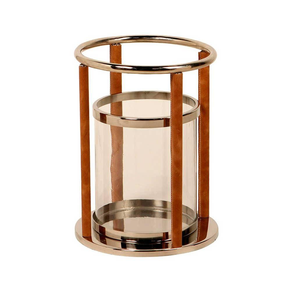 Lanterna Farol de Alexandria Pequena em Aço Inox com Detalhes em Couro Natural - 37x29 cm