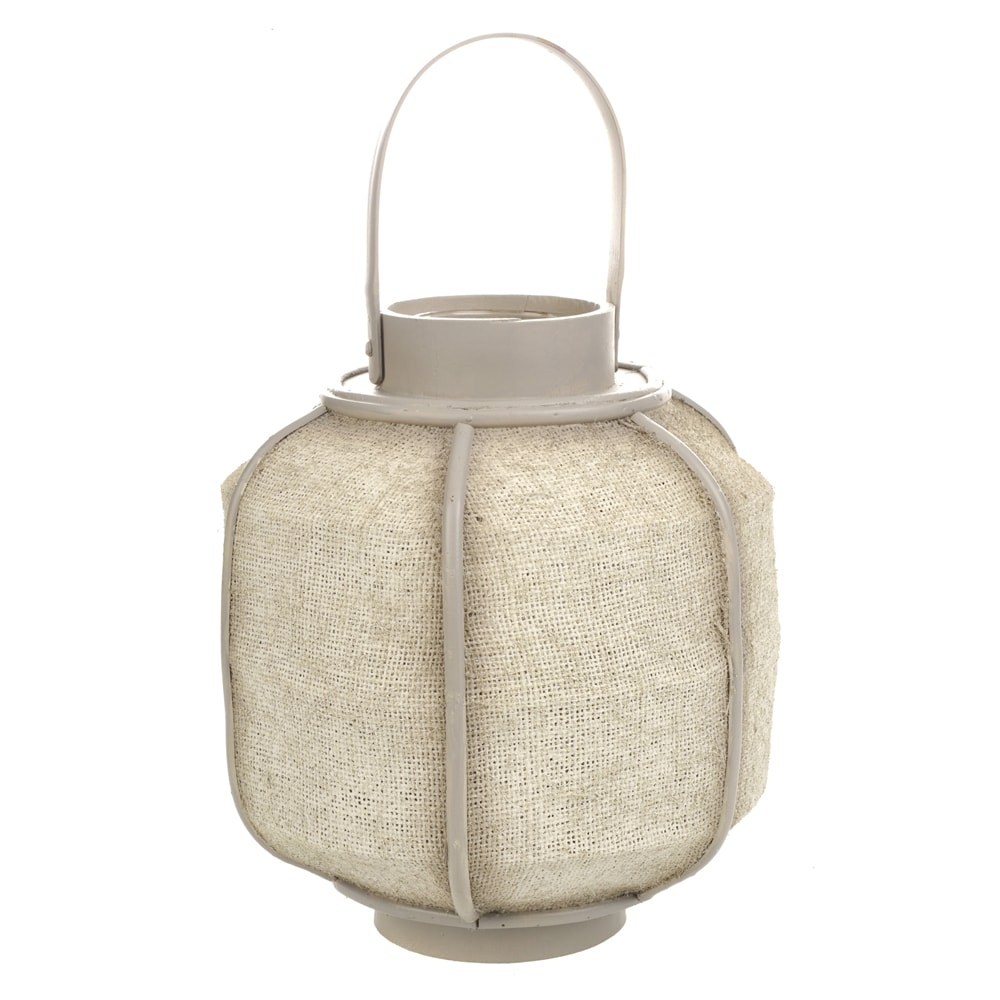 Lanterna Flax Bege em Metal - 35x22 cm