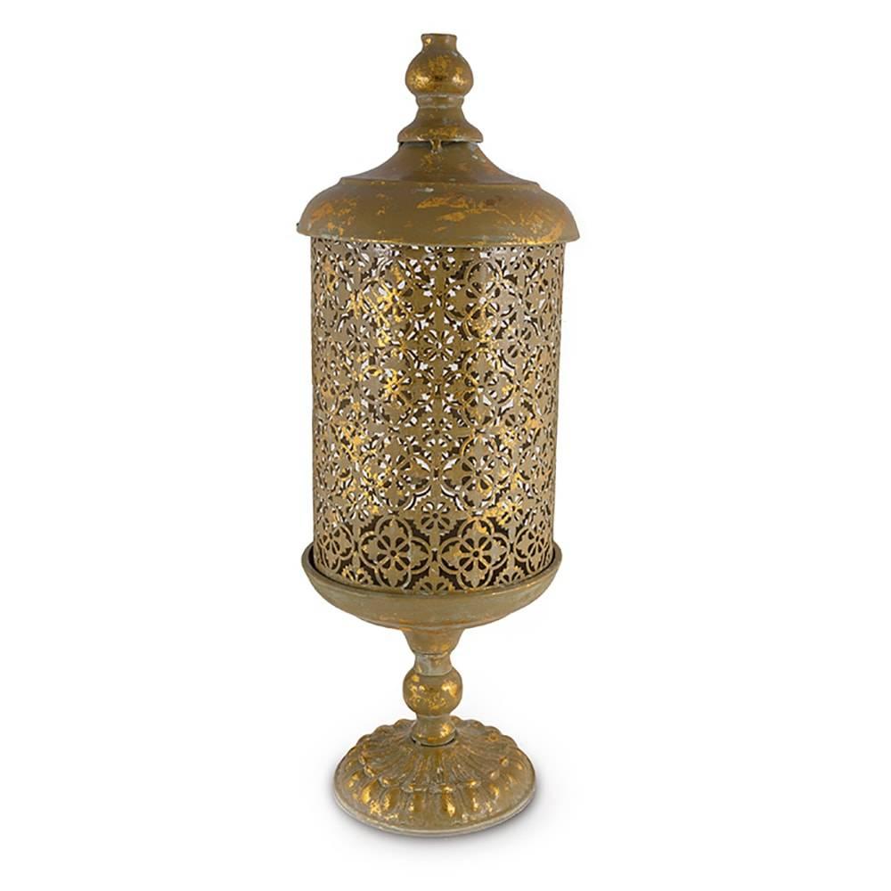Lanterna Golden Diamond Dourado em Metal - 46x16,5 cm