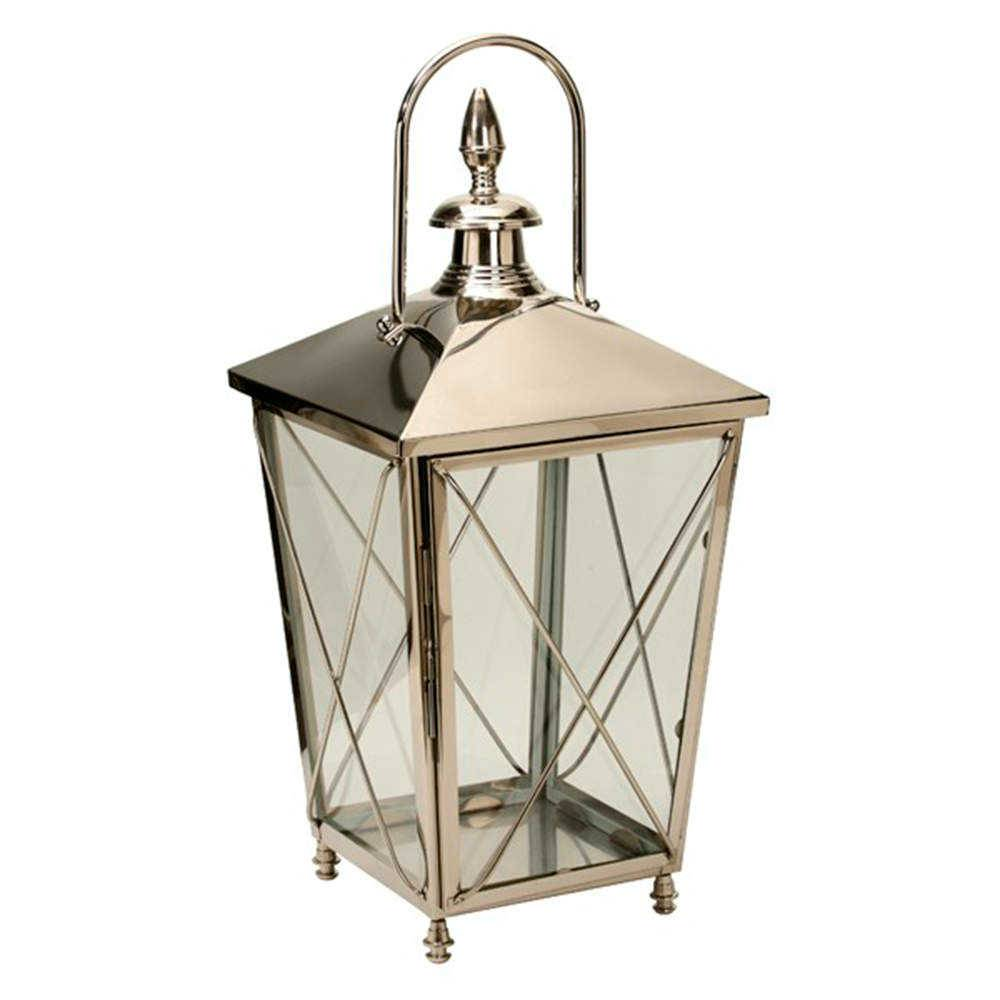 Lanterna Gracy Prata Grande em Aço Inox - 83x37 cm