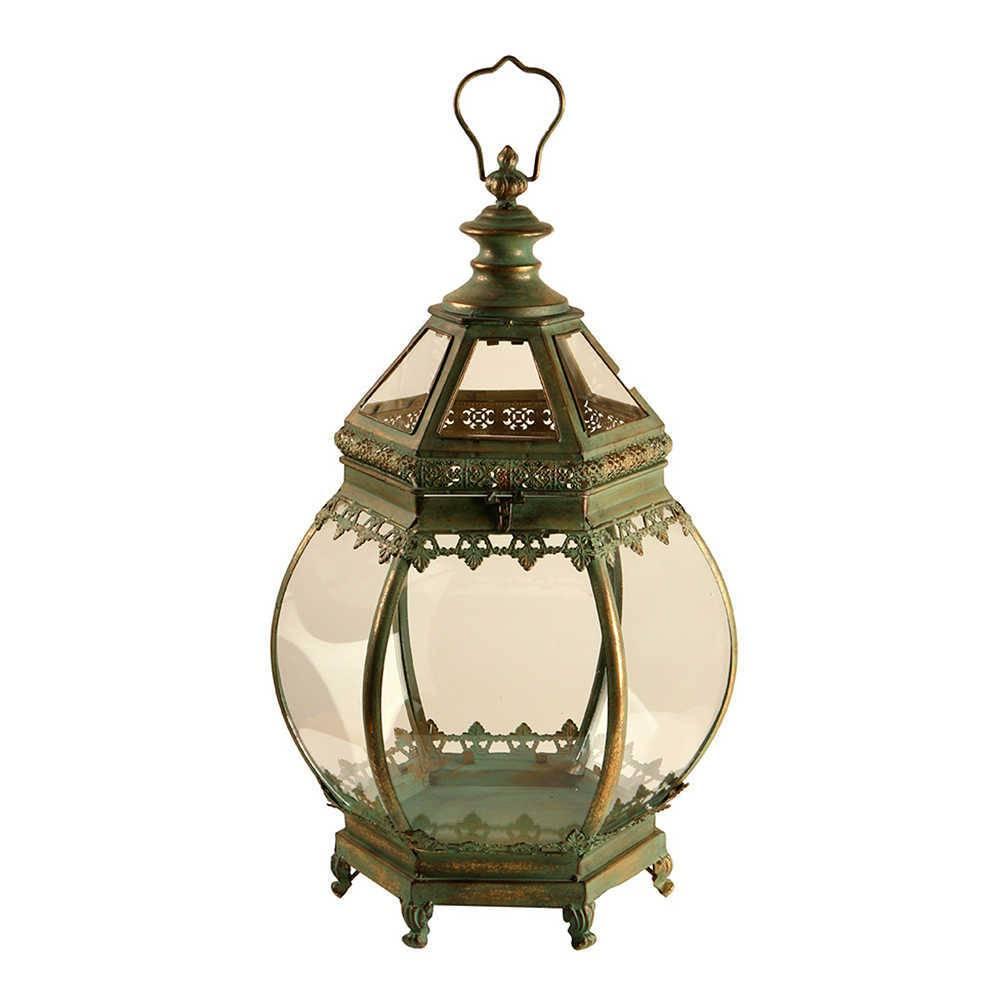 Lanterna Grande Buja Verde Envelhecido em Metal e Vidro - 75x30 cm
