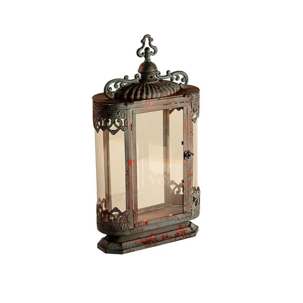 Lanterna Grande Cavi Cinza Pátina em Metal e Vidro - 60x33 cm