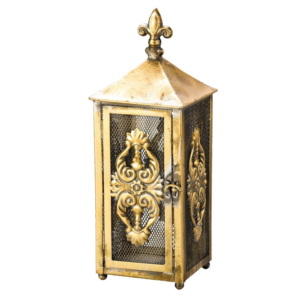 Lanterna Grande Flor de Lis Dourada em Metal - Lyor Classic - 36,5x13,5 cm