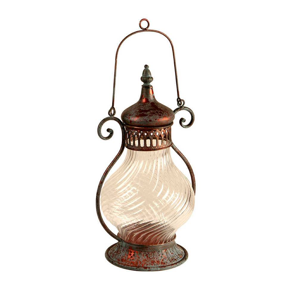Lanterna Grande Lampion Cinza Pátina em Metal e Vidro - 45x27 cm