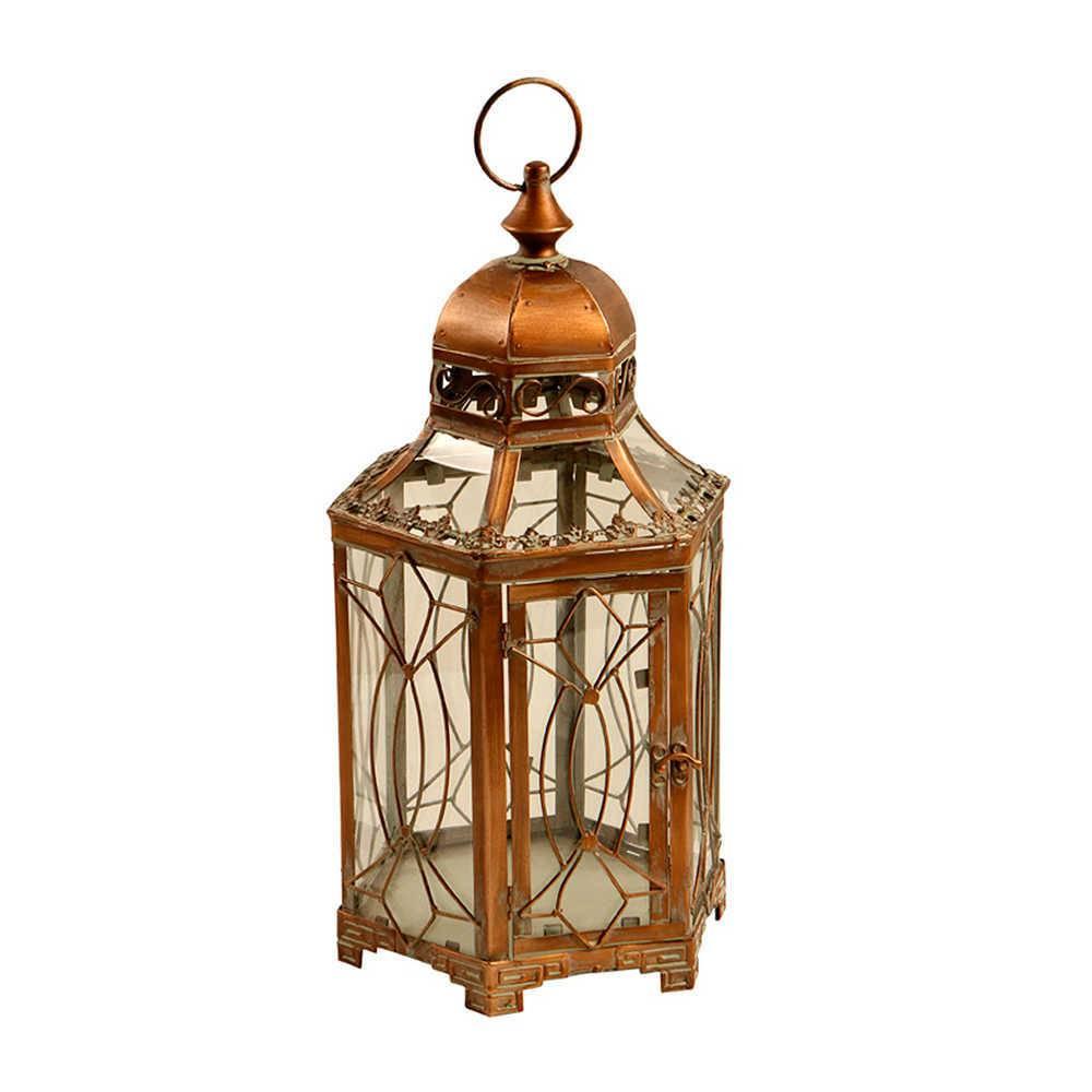 Lanterna Grande Lassa Dourado em Metal e Vidro - 50x20 cm