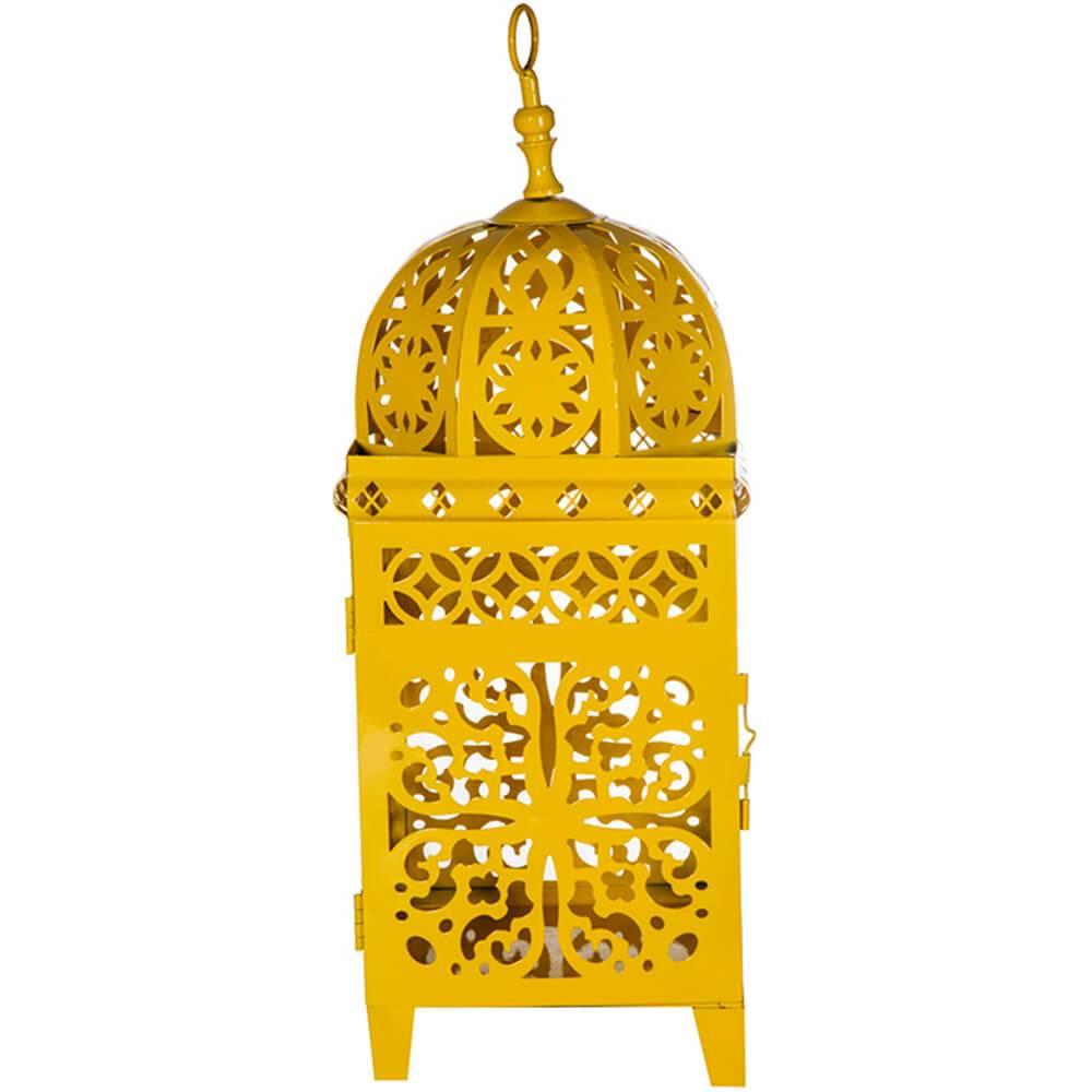 Lanterna Grande Marroquina Flor New Amarela em Metal - Urban - 45x18 cm