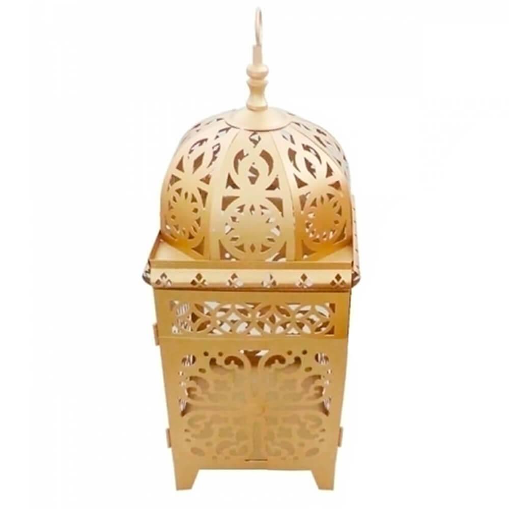 Lanterna Grande Marroquina Flor New Dourada em Metal - Urban - 43x17 cm