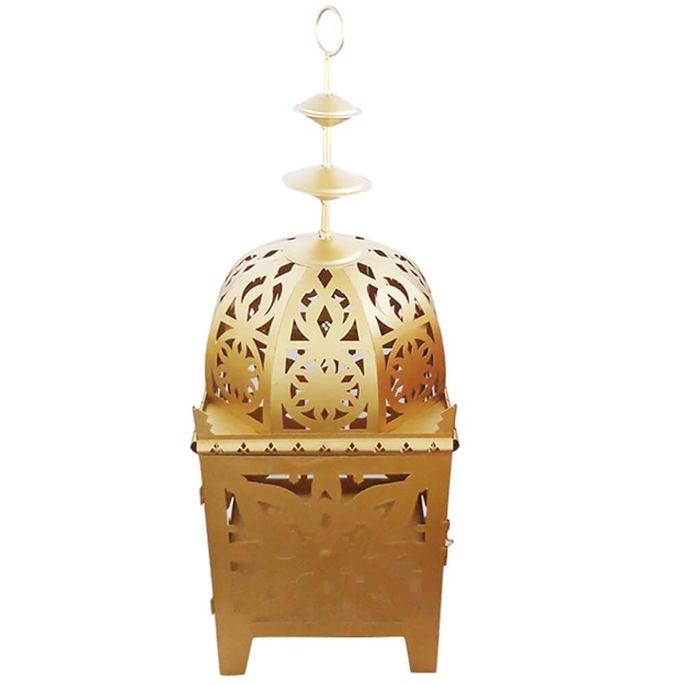 Lanterna Grande Marroquina Flor New Extra Dourada em Metal - Urban - 55x27,5 cm