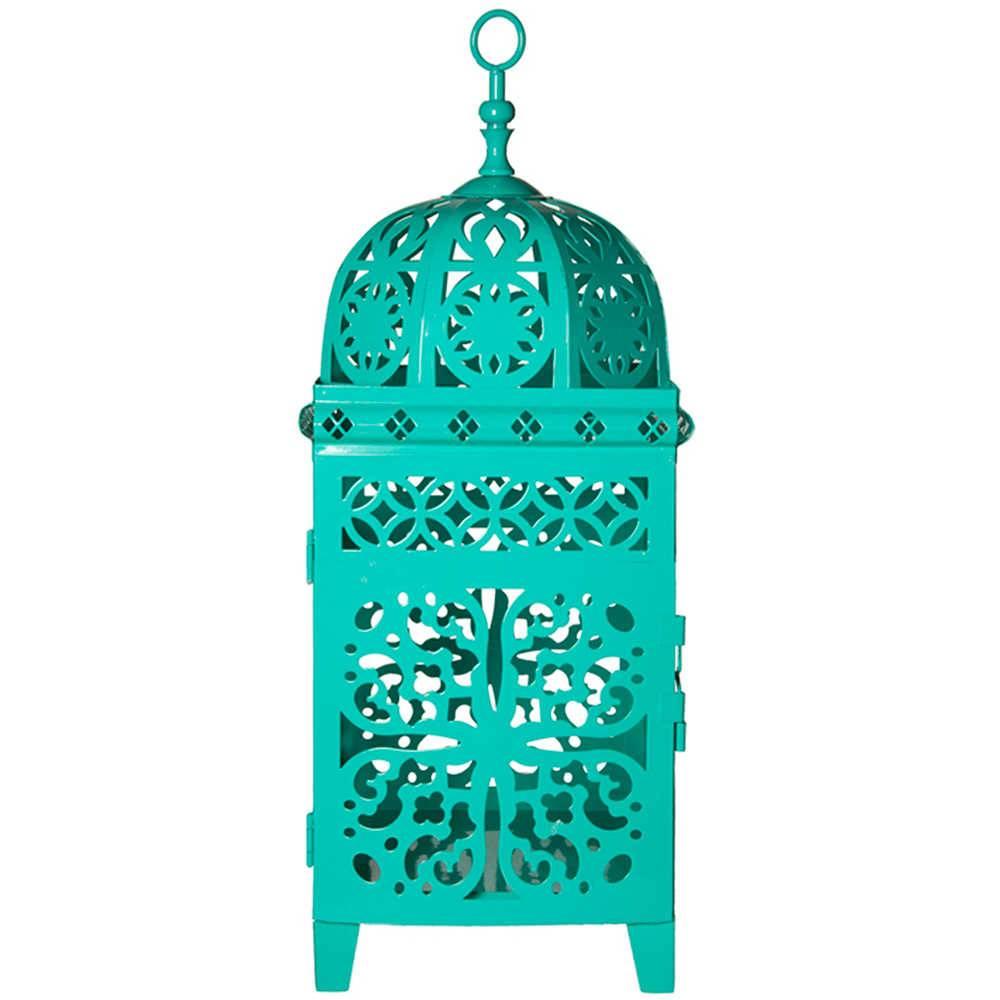 Lanterna Grande Marroquina Flor New Verde em Metal - Urban - 45x17 cm