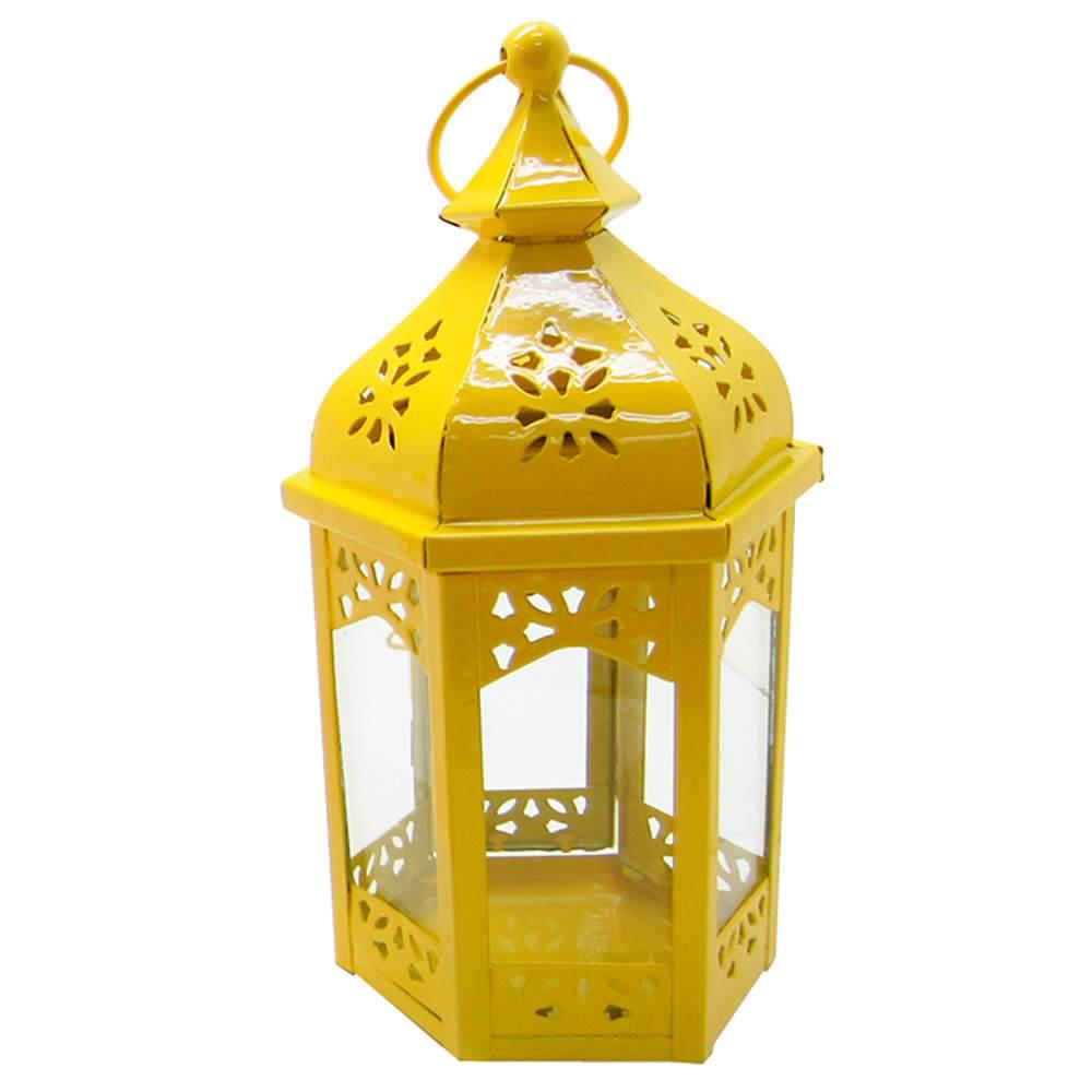 Lanterna Grande Marroquina Hexagonal Amarelo em Metal e Vidro - Urban - 22x12 cm