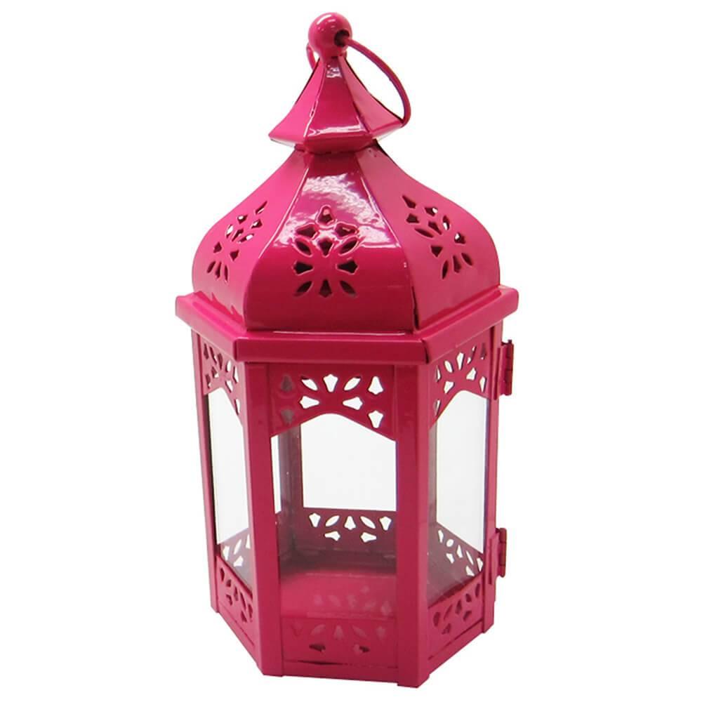Lanterna Grande Marroquina Hexagonal Rosa em Metal e Vidro - Urban - 23x12 cm