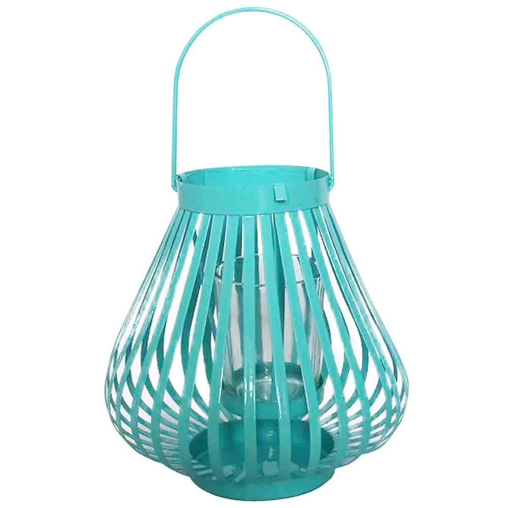 Lanterna Grande Marroquina Mini Basket Trigonal Azul em Metal e Vidro - Urban - 17x15 cm