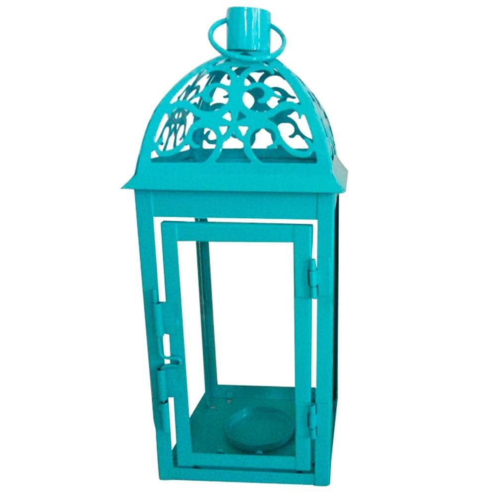 Lanterna Grande Marroquina Tribal Azul em Metal e Vidro - Urban - 25,3x9,7 cm