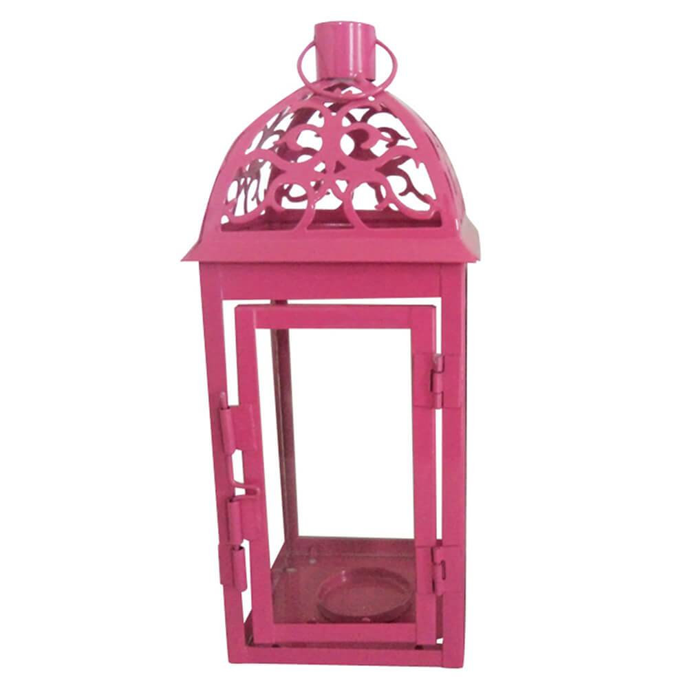 Lanterna Grande Marroquina Tribal Pink em Metal e Vidro - Urban - 23,5x10 cm