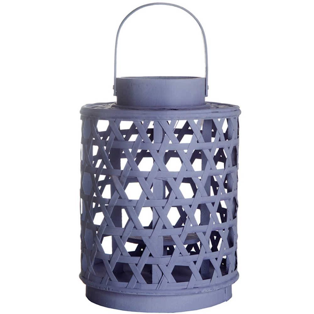 Lanterna Grande Star Basket Bambu Roxa em Metal - Urban - 28,5x21,5 cm
