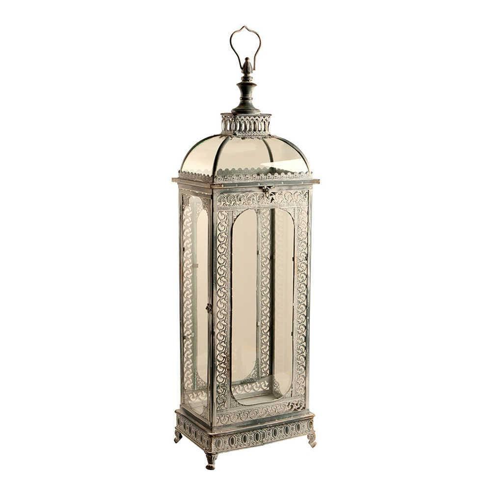 Lanterna Grande Visc Prata Envelhecida em Metal e Vidro - 102x30 cm