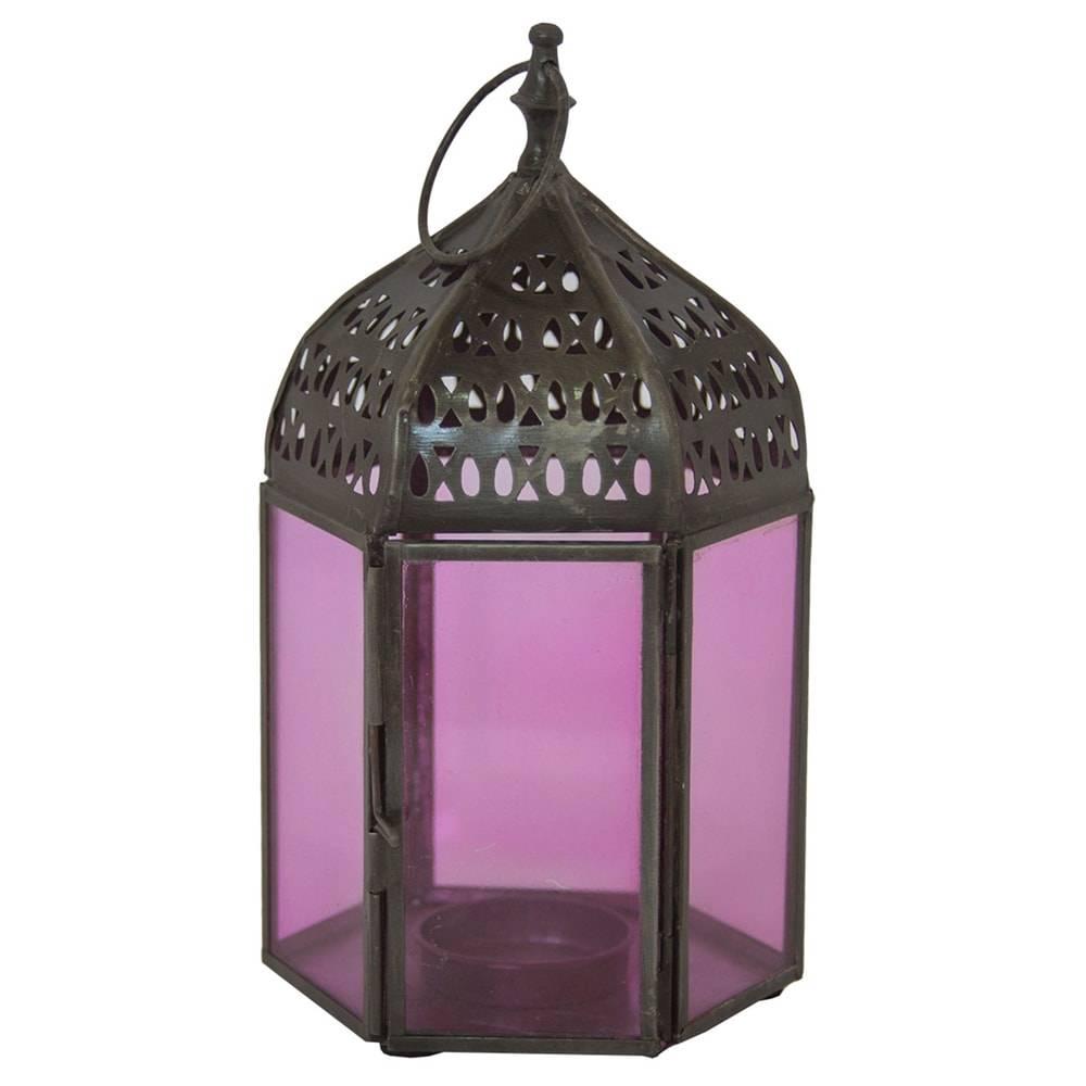 Lanterna Hexagonal Grande Roxa em Ferro e Vidro - 18x10 cm