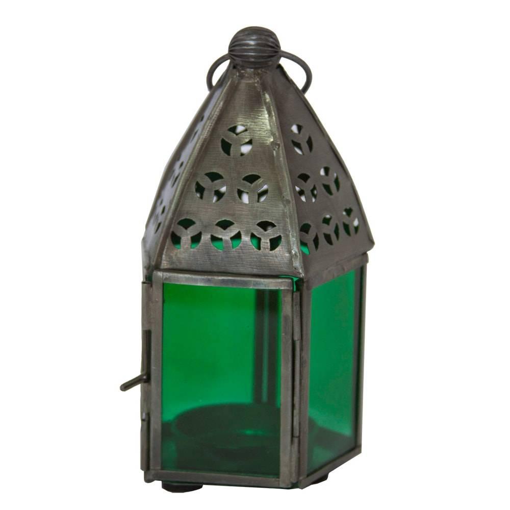 Lanterna Pentagonal Pequena Verde em Ferro - 13x7 cm