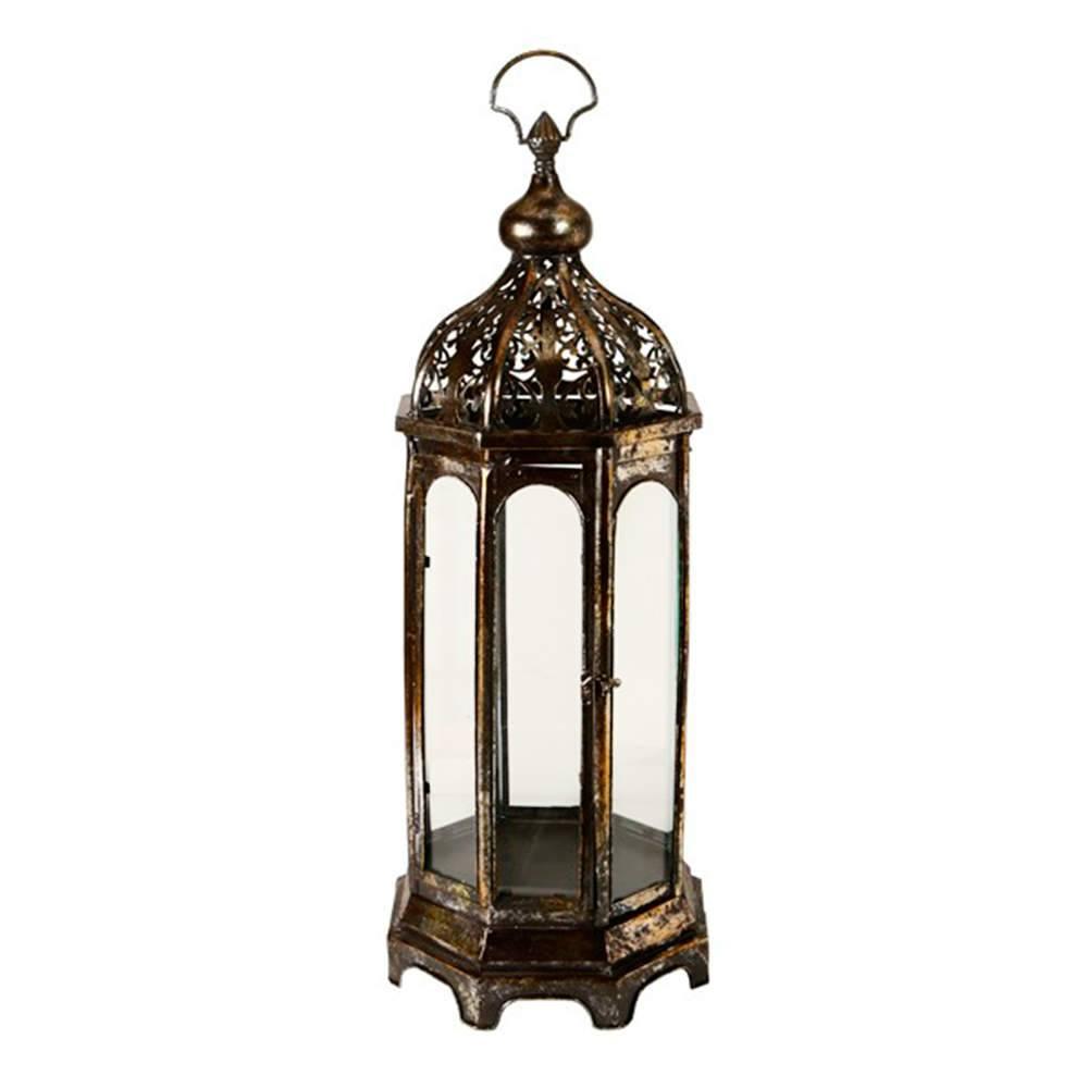 Lanterna Índia Cobre em Metal Banhado a Ouro Velho - 74x28 cm