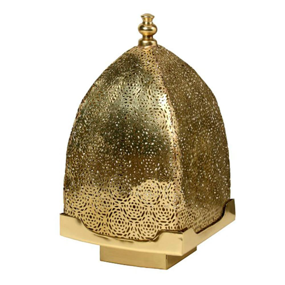 Lanterna Índia Extra Grande em Metal Alpaca Banhado a Ouro - 65x33 cm
