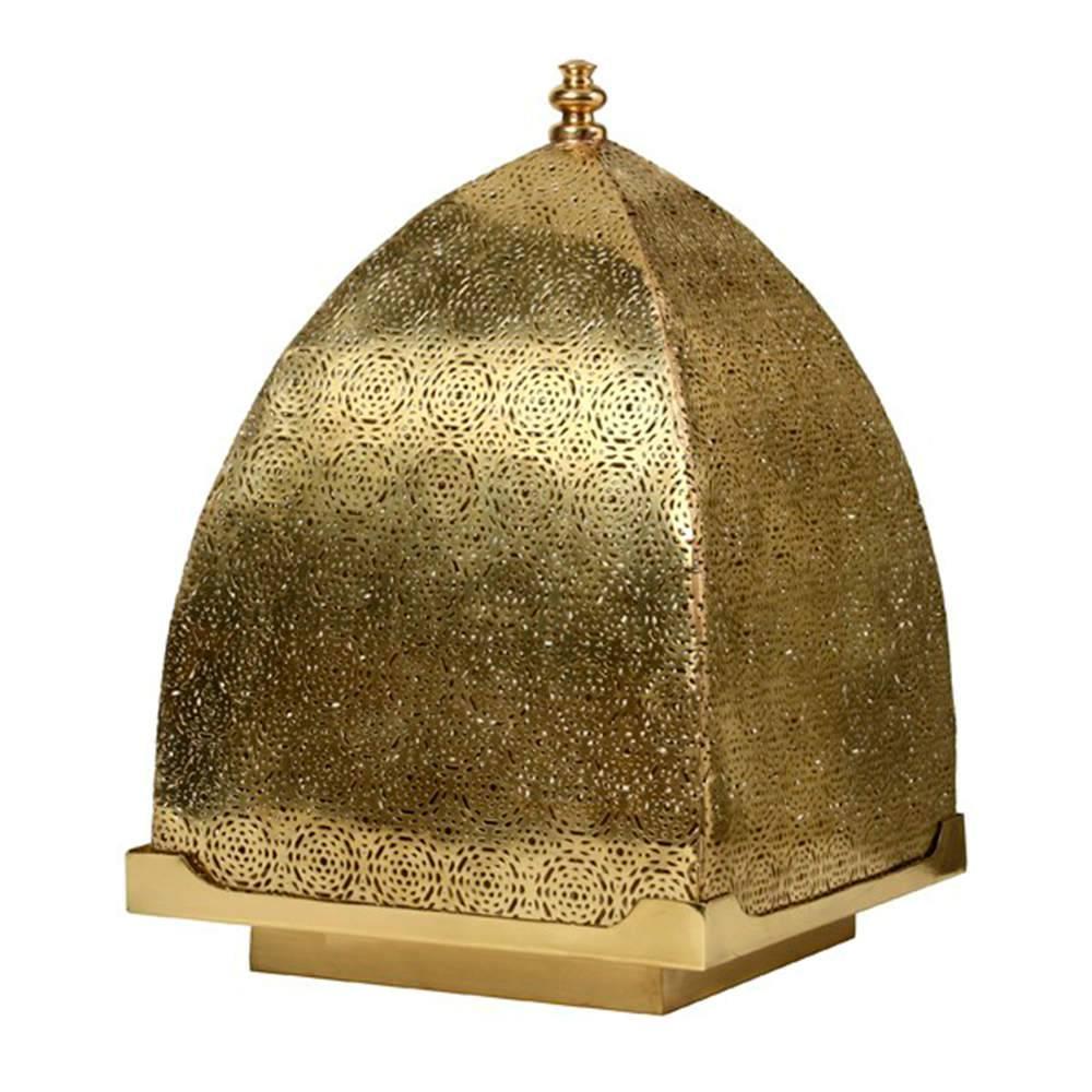 Lanterna Índia Grande em Metal Alpaca Banhado a Ouro - 50x32 cm