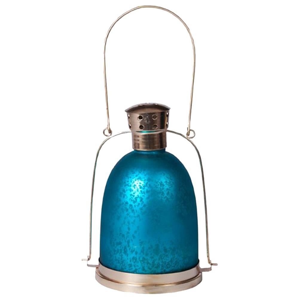 Lanterna Indiana Abóbada Azul em Ferro - 24x16 cm