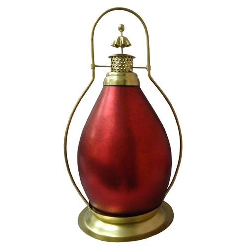 Lanterna Indiana Classic Burgandi em Metal - 48x34 cm