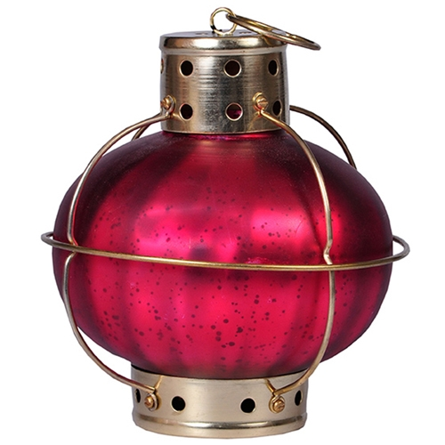 Lanterna Indiana Onion Burgandi em Metal - 20x18 cm
