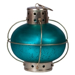 Lanterna Indiana Onion Teal Blue em Metal - 20x18 cm