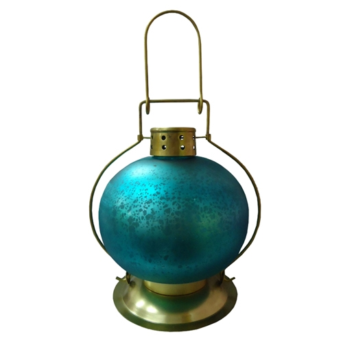 Lanterna Indiana Round Teal Blue em Metal - 24x16 cm