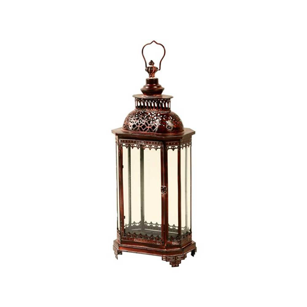 Lanterna Indiana Vermelha Pequena em Metal - 71x29 cm
