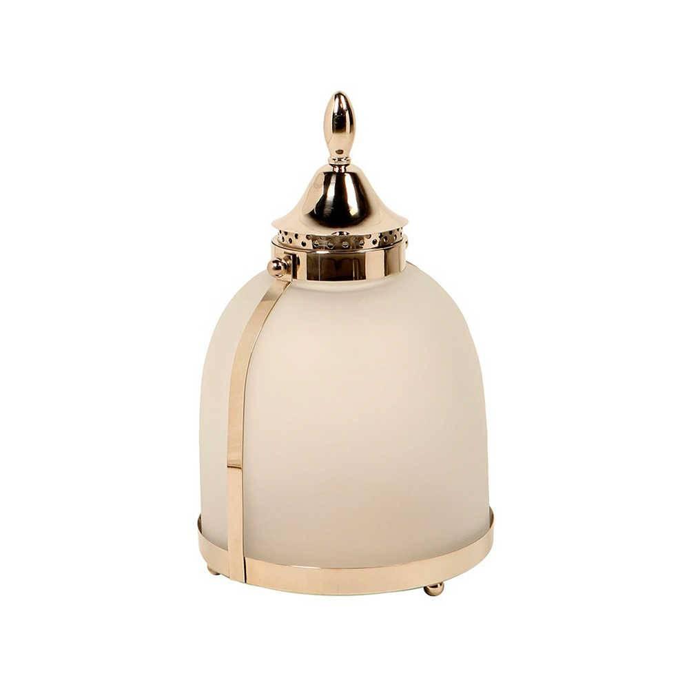 Lanterna Italy Grande Prata em Aço Inox e Vidro - 44x27 cm
