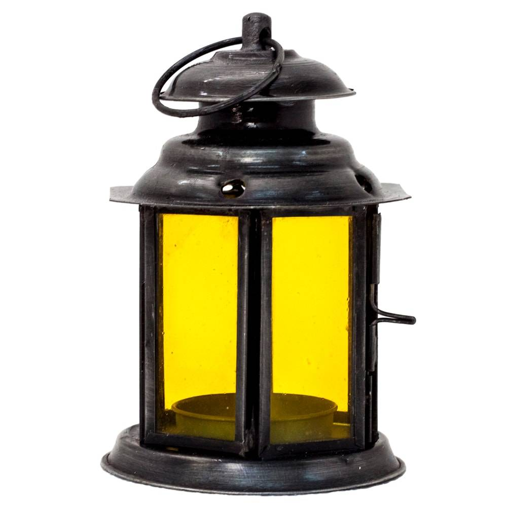 Lanterna Jeff Amarelo em Ferro e Vidro - 12x8 cm