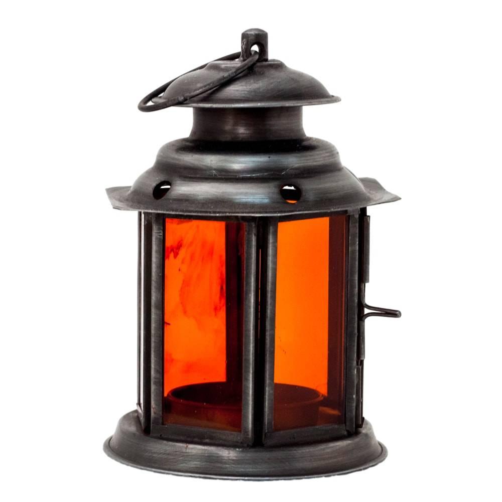 Lanterna Jeff Laranja em Ferro e Vidro - 12x8 cm