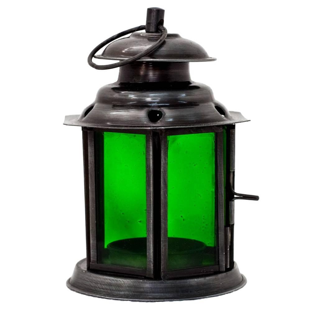 Lanterna Jeff Verde em Ferro e Vidro - 12x8 cm