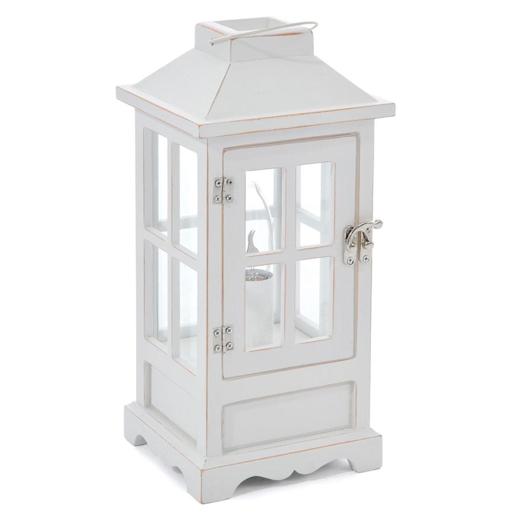 Lanterna Lamparina Branca em Madeira - 32x15 cm