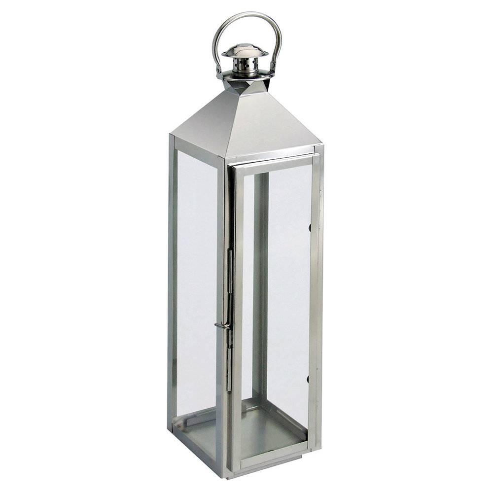 Lanterna Leda Média Prata - em Ferro - Prestige - 71x17 cm