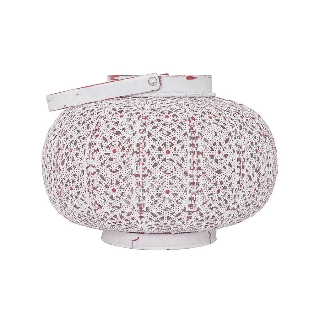 Lanterna Malik Branco/Rosa em Ferro - 22x16 cm