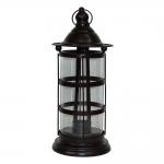 Lanterna Marrom Cristal Grande em Metal e Vidro - 31x13,5 cm